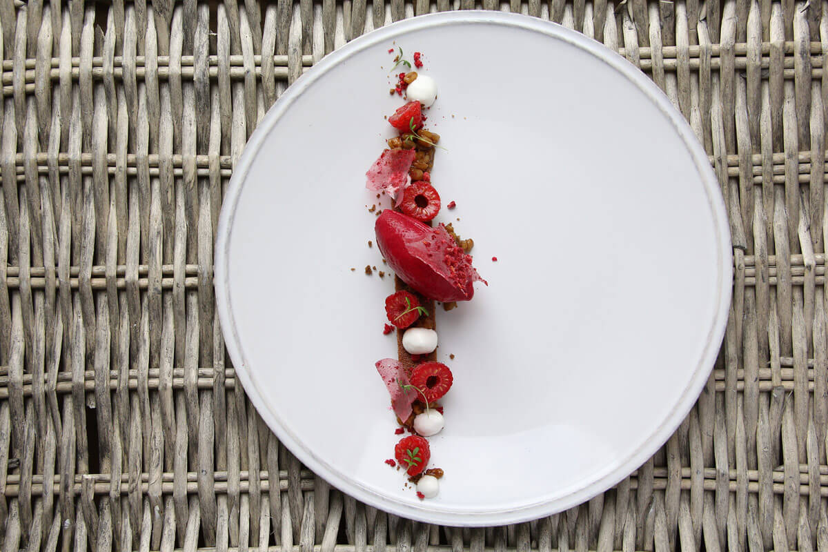 Dessert 'Dacha' which we prepared on the Russian-French seasons in Monaco. A biscuit birdcherry flour, beet sorbet, pearl barley with kvas and espuma sour cream.